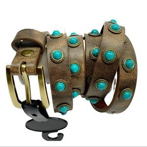 Leather belt with turquoise cabochon studs new southwest western style